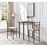Hodedah Import High Table with 2 Chairs, Bronze