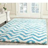 Safavieh Barcelona Shag Handmade Tufted Chevron Ivory/Blue Area Rug Polyester/Cotton in Blue/Brown/White, Size 120.0 H x 96.0 W x 0.5 D in | Wayfair