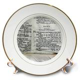 3dRose cp_44028_1 Photograph of a Bible Open to Psalm 91 and Marked with a Large Feather Plate, 8-Inch, Porcelain