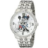 Disney Women's W001832 Mickey & Minnie Analog Display Analog Quartz Silver Watch