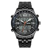Soleasy Men's Watch Military Dual Time Zones with Calendar Function(Black) WTH0995