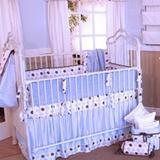 Brandee Danielle Ash 4 Piece Crib Bedding Set Cotton Blend in Blue | Wayfair 1514PASB