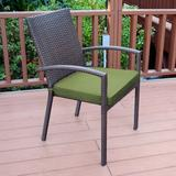 Jeco Inc. Stacking Patio Dining Side Chair w/ Cushion in Brown/Gray, Size 35.43 H x 25.29 W x 22.23 D in   Wayfair W00301-A_6-FS029