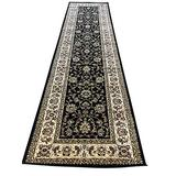 Traditional Long Persian 330,000 Point Floral Runner Rug Black Green Beige Design 601 (31 Inch X 9 Feet 10 Inch)