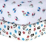 Trend Lab Snowman & Penguin Print Flannel Fitted Crib Sheet Set Cotton in Black/Blue/Red, Size 10.0 H x 28.0 W x 52.0 D in | Wayfair 24090
