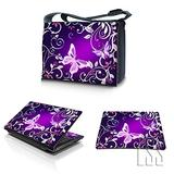 """LSS 17-17.3"""" Laptop Messenger Crossbody Bag with Matching Laptop Skin Sticker & Mouse Pad Combo 