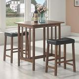 Coaster Home Furnishings CO- 3 Pc Counter Height Set, Brown/Black