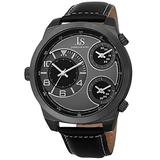 Joshua & Sons Men's Triple Time Zone Unique Watch - On Genuine Alligator Embossed Leather Strap - JS88