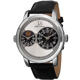 J&S JOSHUA & SONS Men's Dual Time Zone Watch - Guilloche Sunray Dial On Leather Alligator-Embossed Leather- JS87 (Silver)