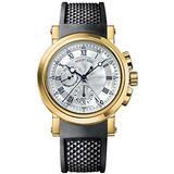 Breguet Marine Men's Black Rubber Strap Yellow Gold Automatic Chronograph Swiss Made Watch 5827BA/12/5ZU
