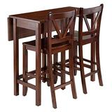 Winsome Lynnwood Collection 3 Piece Drop Leaf Table with 2 Counter V-Back Stools, Brown