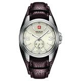 Swiss Military Capture Men's Quartz Watch with Silver Dial Analogue Display and Brown Leather Cuff 6-4216.04.002