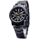 Smith & Wesson Men's Pilot Watch with 3ATM/Round Face/Multi Function Chronograph/Stainless Steel Strap/Japanese Movement/Glowing Hands, 39mm, Black