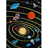 Momeni Rugs Lil' Mo Whimsy Collection, Kids Themed Hand Carved & Tufted Area Rug, 4' x 6', Outer Space Black