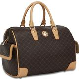 Rioni Brown Signature Large Canvas Bowler Boston Bag Handbag w/ Leather Trim