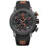 LIV Swiss Watches GX1 Swiss Analog Display Chronograph Casual Watch for Men; 45 mm Stainless Steel with Date Calendar; 660 feet Water-Resistant - Signature Orange