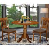 East West Furniture DLPO3-SBR-C, 3 Piece Set, Saddle Brown