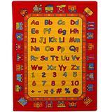 "Mybecca Kids Children Educational ABC Fun Alphabet Train Area Rug 5' x 7' Children Area Rug for Playroom & Nursery - Non Skid Gel Backing (59"" x 82"")"