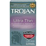 Trojan Ultra Thin Lubricated Latex Condoms, Spermicidal 12 ct (Quantity of 3)