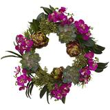 nearly natural 20-in. Orchid, Artichoke & Succulent Wreath, Pink