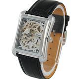 VIGOROSO Men's Square Face Skeleton Mechanical Hand-Winding Black Leather Wrist Watch