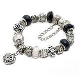 "RUBYCA Silver Tone European Charm Bracelet 7.9"" Black & White Murano Glass Beads DIY Jewelry Kit 12"