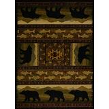 United Weavers of America Affinity Collection Black Bears Rug - 5ft. 3in. x 7ft. 10in., Shades of Black/Brown, Machine-Made Rug with Animal Print, Jute Backing