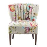 Madison Park Korey Accent Chairs - Hardwood, Birch Wood, Fabric Living Room Chairs - Khaki, Purple, Blue, Floral Paisley Style Living Room Sofa Furniture - 1 Piece Wingback Deep Seat Armless Bedroom Chairs Seats