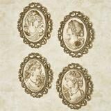 Victorian Ladies Plaques Ivory/Gold Set of Four, Set of Four, Ivory/Gold