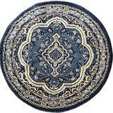 Traditional Round Oriental Area Rug Blue Persian Emirates Design 520 (7 Feet 9 Inch X7 Feet 9 Inch)