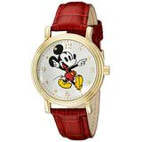Disney Women's W001870 Mickey Mouse Gold-Tone Watch with Red Faux Leather Band