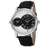 August Steiner Men's Dual Time Zone Watch - Unique Design 2 Round Dials 1 with Roman Numerals On Croco-Textured Genuine Leather - AS8146