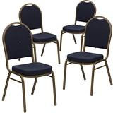 Flash Furniture 4 Pack HERCULES Series Dome Back Stacking Banquet Chair in Navy Patterned Fabric - Gold Frame