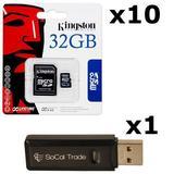 10 PACK - Kingston 32GB MicroSD HC Class 4 TF MicroSDHC TransFlash Memory Card SDC32/32GB 32G 32 GB GIGS (M.A32.RTx10.550) LOT OF 10 with USB SoCal Trade SCT Dual Slot MicroSD & SD Memory Card Reader - Retail Packaging