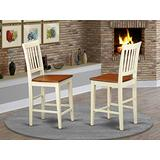 East West Furniture Vernon Counter height dining chairs-Wooden Seat and Buttermilk Hardwood Structure kitchen counter height chairs set of 2