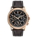 Citizen Eco-Drive Calendrier Quartz Mens Watch, Stainless Steel with Leather strap, Classic, Brown (Model: BU2023-04E)