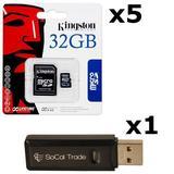 5 PACK - Kingston 32GB MicroSD HC Class 4 TF MicroSDHC TransFlash Memory Card SDC32/32GB 32G 32 GB GIGS (M.A32.RTx5.550) LOT OF 5 with USB SoCal Trade SCT Dual Slot MicroSD & SD Memory Card Reader - Retail Packaging