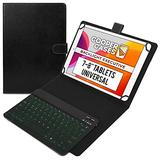 Cooper Backlight Executive Keyboard Case for 7-8 Inch Tablets | Universal Fit | 2-in-1 Bluetooth Keyboard & Leather Folio, 7 Color Backlit (Black)