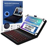 Cooper Backlight Executive Keyboard Case for 7-8 Inch Tablets   Universal Fit   2-in-1 Bluetooth Keyboard & Leather Folio, 7 Color Backlit (Black)