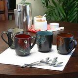 Gardenia Cafe' 16oz Coffee or Tea Stoneware Mug Set ~ 4 PC