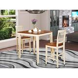 3 Pc pub Table set-Square pub Table and 2 counter height Chairs