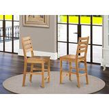 East-West Furniture Café Pub Counter height dining chairs - Wooden Seat and Oak Hardwood Frame outdoor counter height chairs set of 2