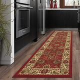 """Ottomanson OTH2130-3X10 Ottohome Floral Runner Rug, 2'7"""" X 9'10"""", Red Persian, 9 Feet"""