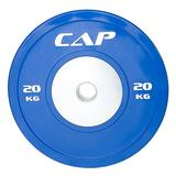 "CAP Barbell Olympic Rubber Bumper Plate with Steel Hub 2"" (Single), Blue, 20 kg"