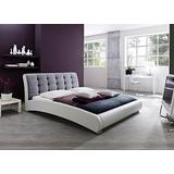 Baxton Studio Guerin Contemporary Faux Leather Fabric Two Tone Upholstered Grid Tufted Platform Bed, King, White/Grey