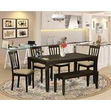 East West Furniture LYAN6-CAP-C 6-Piece Dining Table Set – Rectangular Top Dining Table and Wooden Bench – 4 Dining Room Chairs Slatted Back and Linen Fabric Seat (Cappuccino Finish)
