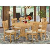 East West Furniture 7-Piece Dining Table Set, Microfiber Upholstered Seat, Oak Finish