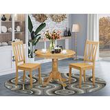 East West Furniture modern dining table set 2 Fantastic kitchen dining chairs - A Beautiful wood dining table- Oak Color Wooden Seat Oak round wooden dining table