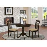 East West Furniture ANCA3-CAP-C Kitchen Dining Table Set- 2 Awesome Wooden Chairs - A Gorgeous Dining Table- Linen Fabric Seat and Cappuccino Finish Kitchen Table