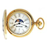 Dueber Moon Phase Pocket Watch with Swiss Movement & Mother of Pearl Dial